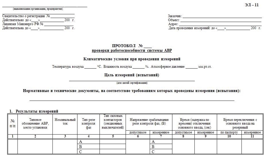 Протокол испытания устройств АВР
